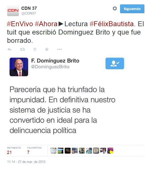 Tras borrar tuit, Domínguez Brito anuncia una rueda de prensa para esta tarde