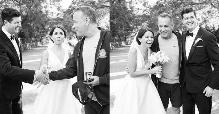 Tom Hanks sorprende a una pareja al colarse en las fotos de su boda