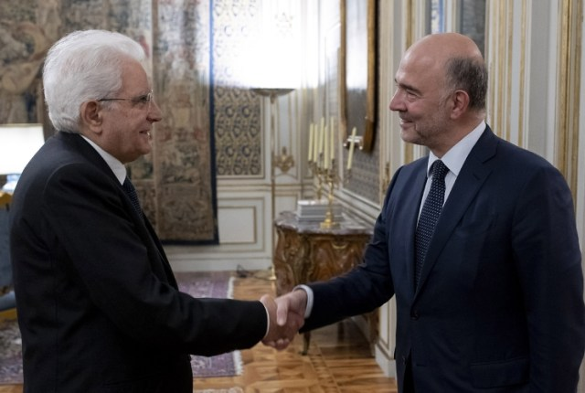 Sergio Mattarella y Pierre Moscovici. (Quirinale)