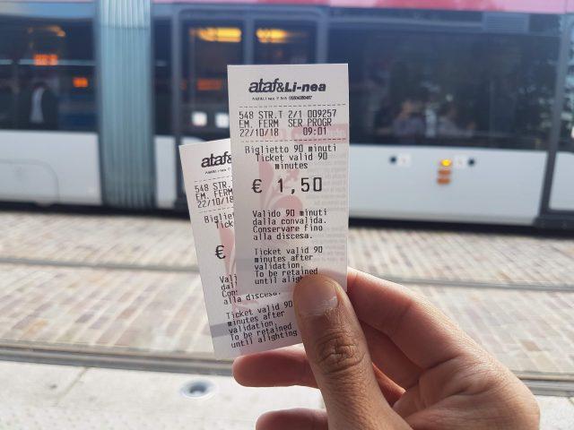 Boleto del tranvía que lleva y trae de Villa Costanza.