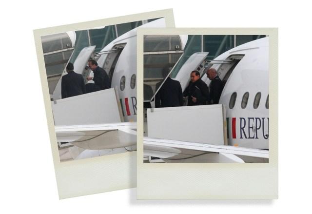 Silvio Berlusconi viaja a Villa Certosa en el avión oficial.