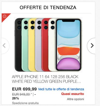 Oferta iPhone 11 en Ebay.