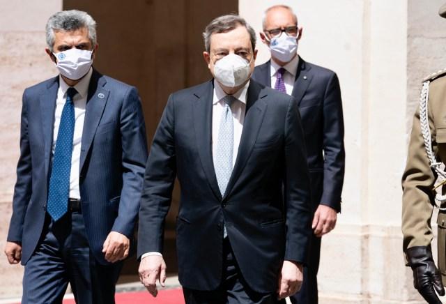 El primer ministro Mario Draghi, en el Palacio Chigi (Foto: Governo)