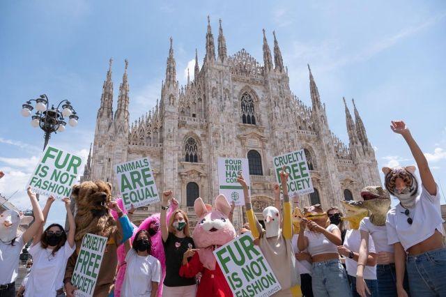 Activistas en el Duomo de Milán.
