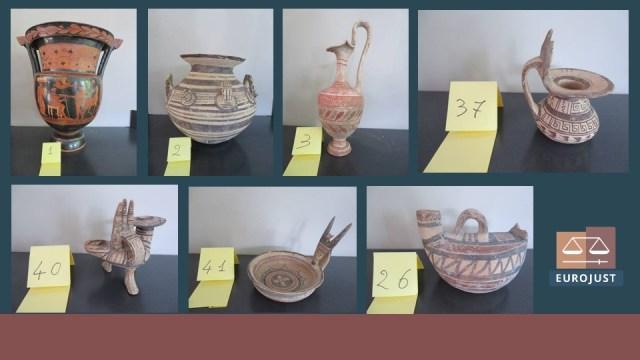 El tesoro arqueológico recuperado por Carabineros (Foto: Twitter Eurojust)