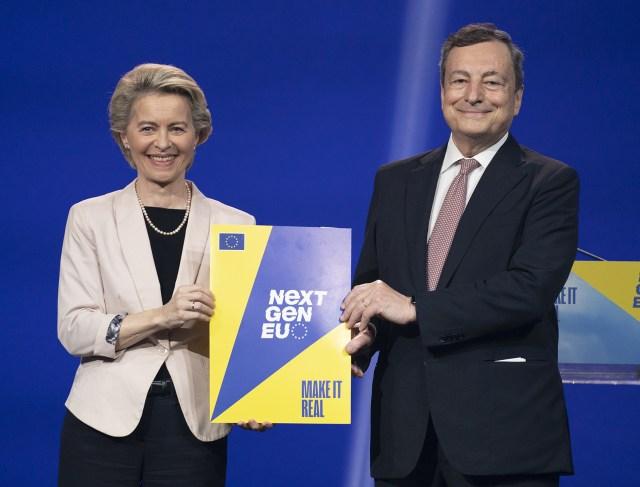 Úrsula von der Leyen y Mario Draghi, en Roma (Foto: Governo)
