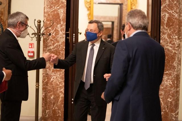 Draghi recibió a los sindicatos (Foto: Governo)