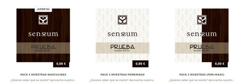 Pack de muestras gratis de perfumes Sensum