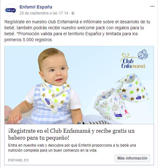Consigue un babero gratis con el club Enfamama