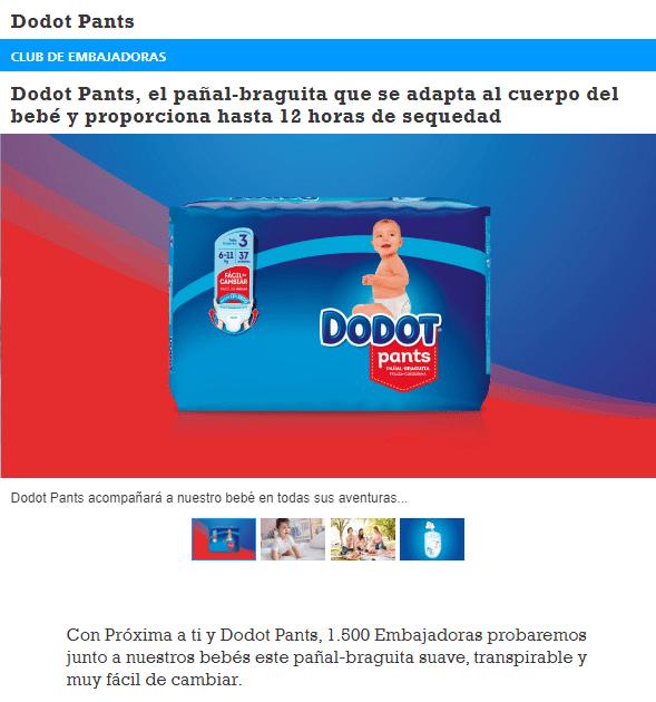 Consigue un paquete de pañales Dodot gratis