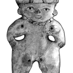 Drawing of a figurine from Tiesler (2014, p. 81) that depicts a head splint used to shape an infant's skull.