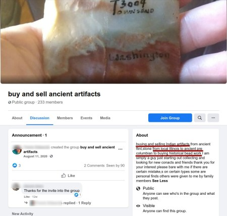 buy-sell ancient artifacts group