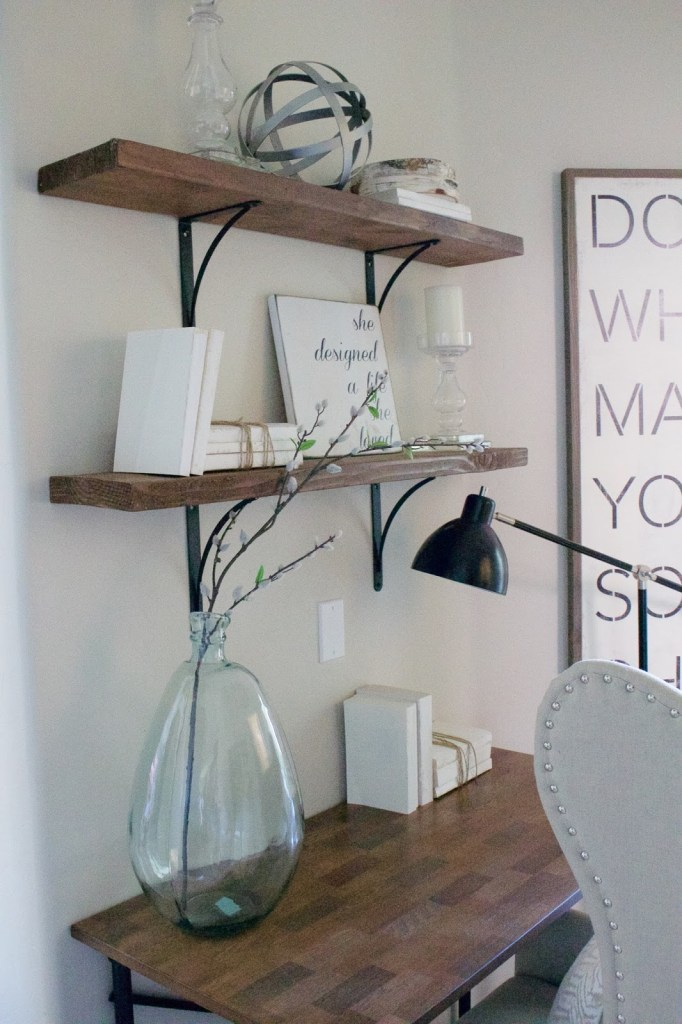 Simple shelving decor, use what you have in your home already - shop the house!