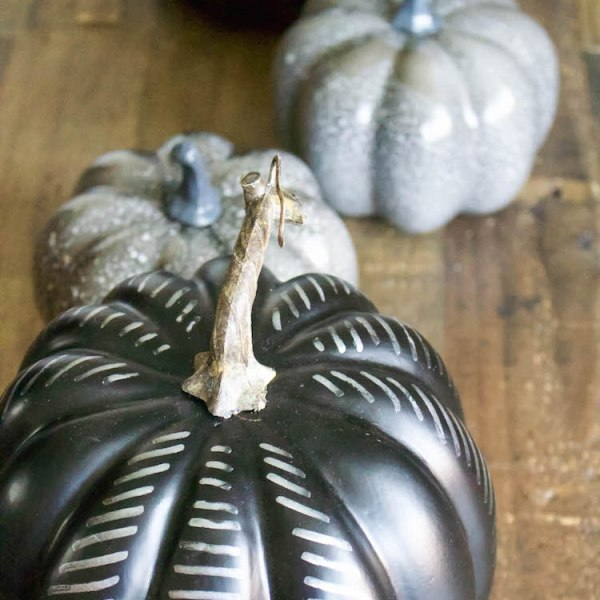 DIY Modern Black Pumpkin - Halloween Craft, Simple Halloween Tablescape | ahouseandadog.com
