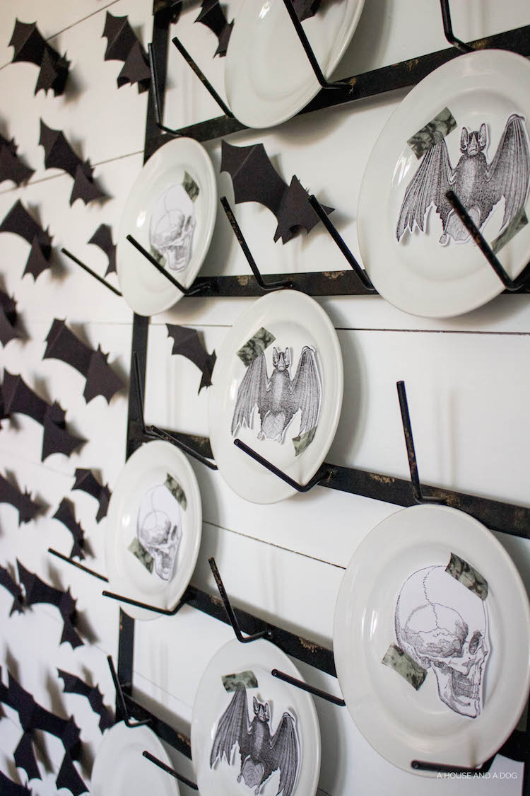 Halloween Dining Room & Bat Wall DIY | ahouseandadog.com