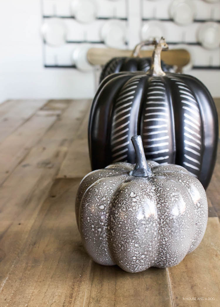 DIY Modern Black Pumpkin - Halloween Craft, Simple Halloween Tablescape | ahouseandadog.com
