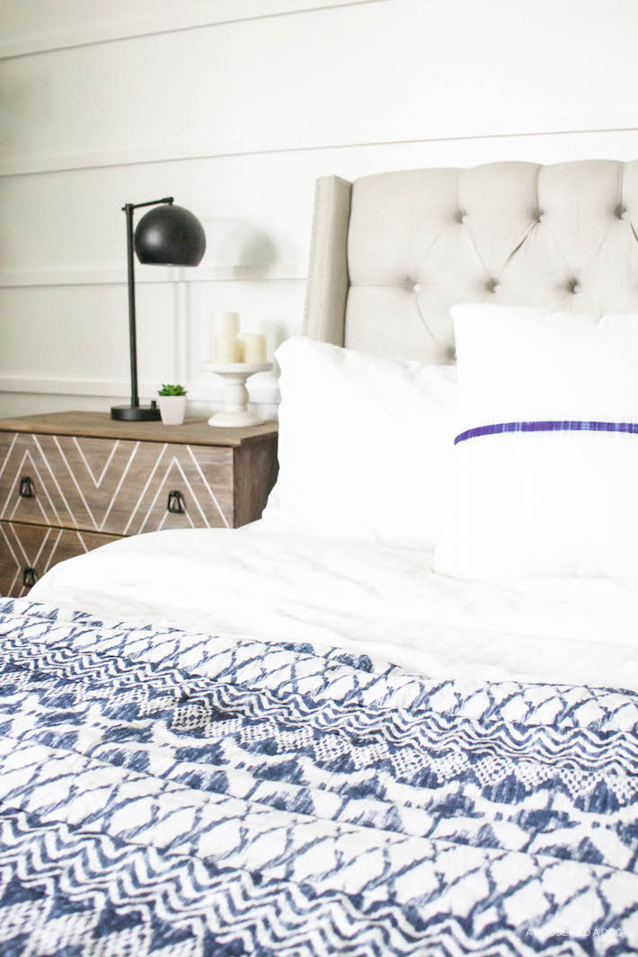 Blue & White Bedroom - DIY Horizontal Board & Batten Wall, DIY Painted Headboard & Bench, DIY Ikea Tarva Hack | One Room Challenge | ahouseandadog.com