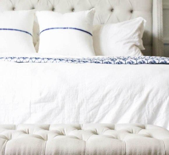 Blue & White Bedroom - DIY Horizontal Board & Batten Wall, DIY Painted Headboard & Bench, DIY Ikea Tarva Hack | One Room Challenge | ahouseandadog.com