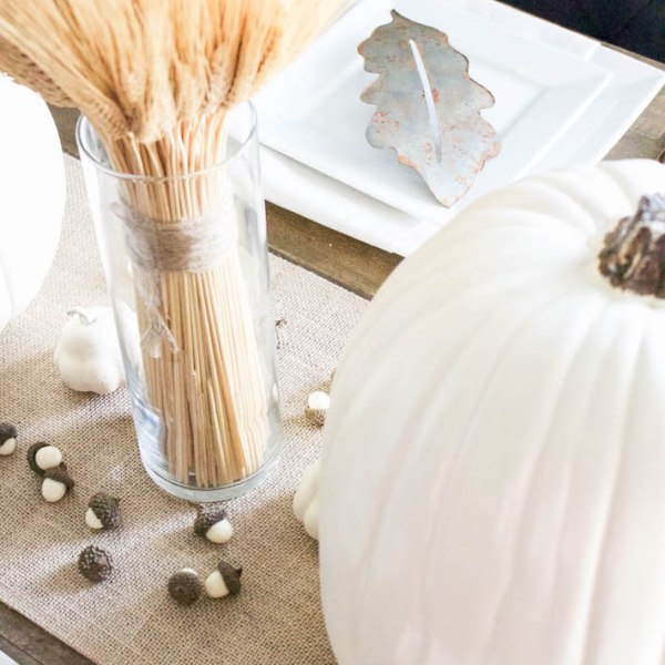 Neutral Gold & White Thanksgiving Table - White Pumpkins & Wheat | ahouseandadog.com