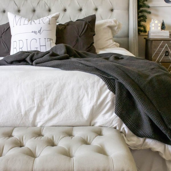 Simple White & Gray Christmas Bedroom 2016 | ahouseandadog.com