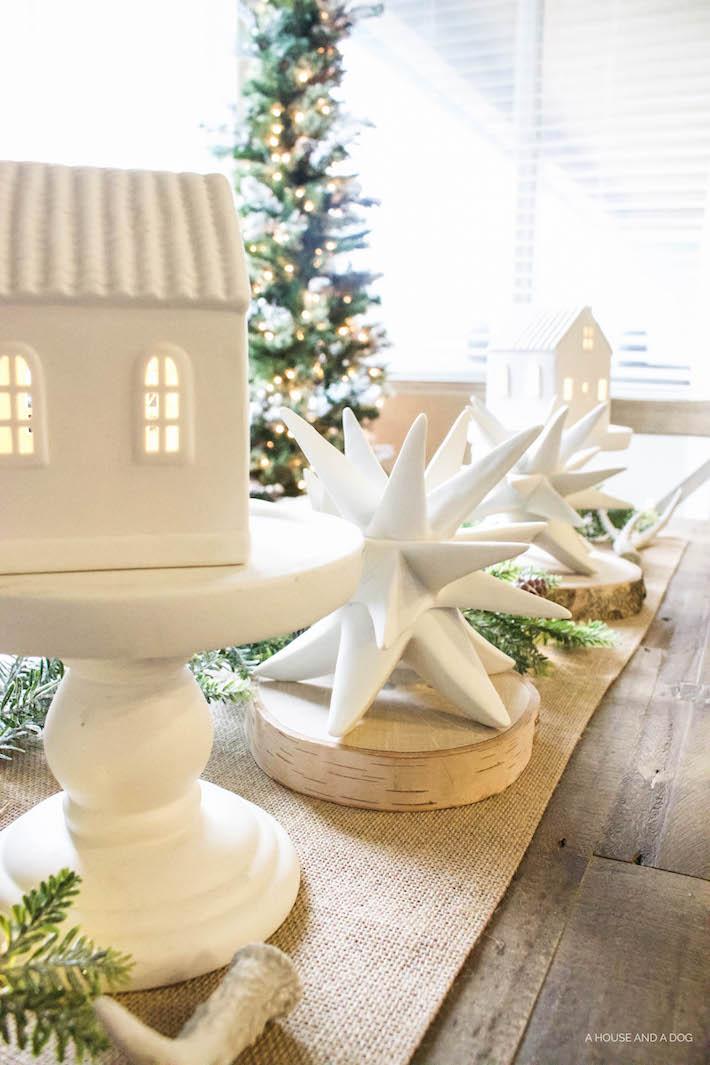 Winter Wonderland Christmas Village Tablescape | ahouseandadog.com