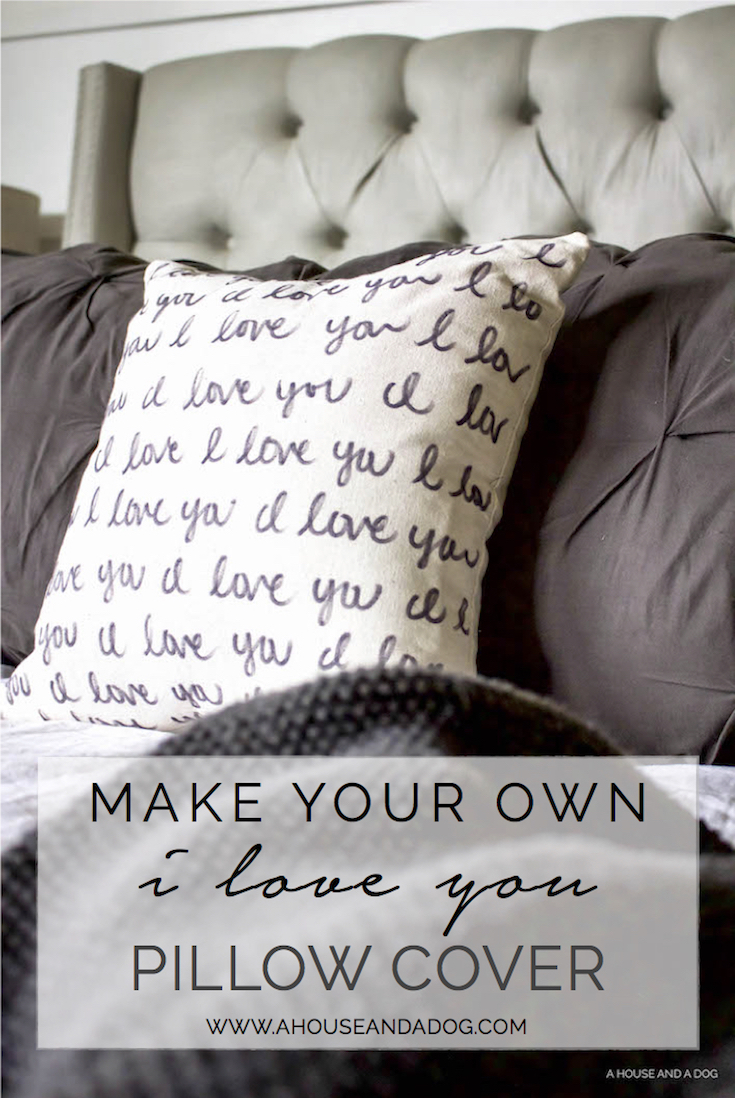 DIY 'I Love You' Pillow - Perfect for Valentine's Day! | ahouseandadog.com