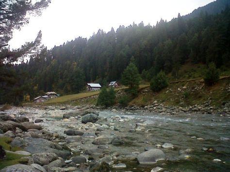 Cottage on the banks of Lidder River Pahalgam