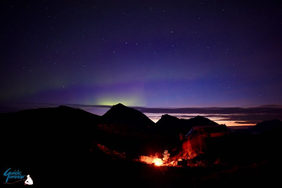 Campfire under the Northern Lights. What more could one ask for