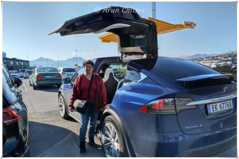 Driving from Tromso to Lyngen North in Ola's Tesla