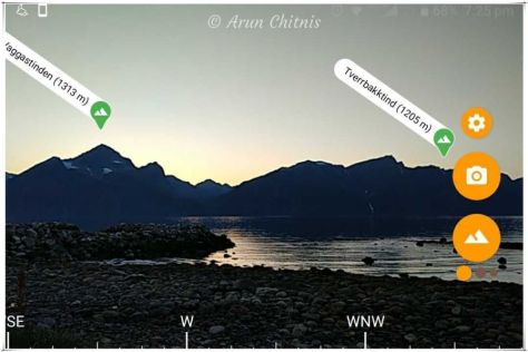 The PeakLens app gave us the names of these mountains in the Lyngen Alps