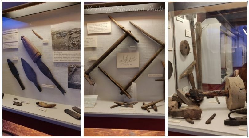 Sleds, spears, axes and tools that were used by hunters and explorers