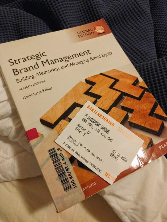 Global Branding textbook and A Clockwork Orange ticket