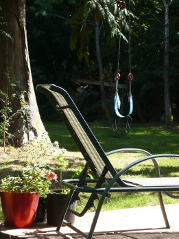 photo of lounge chair and flowers on patio with swing and trees in background