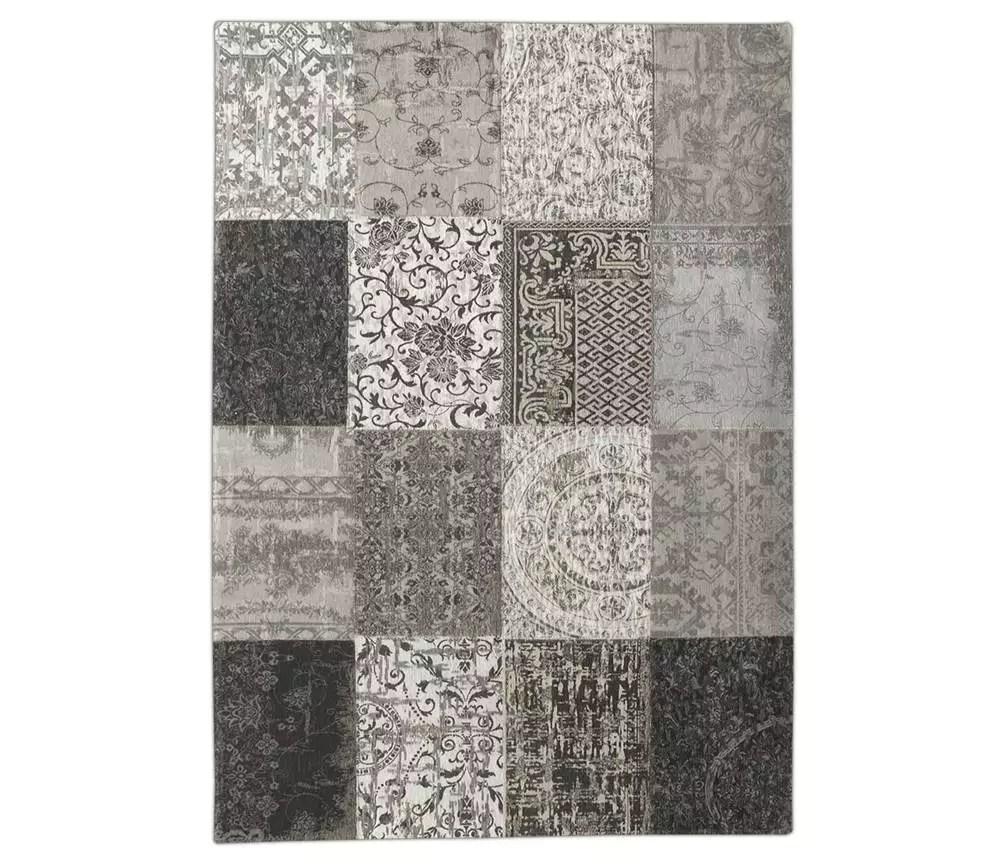 louis de poortere tapis vintage patchwork noir et blanc letzshop