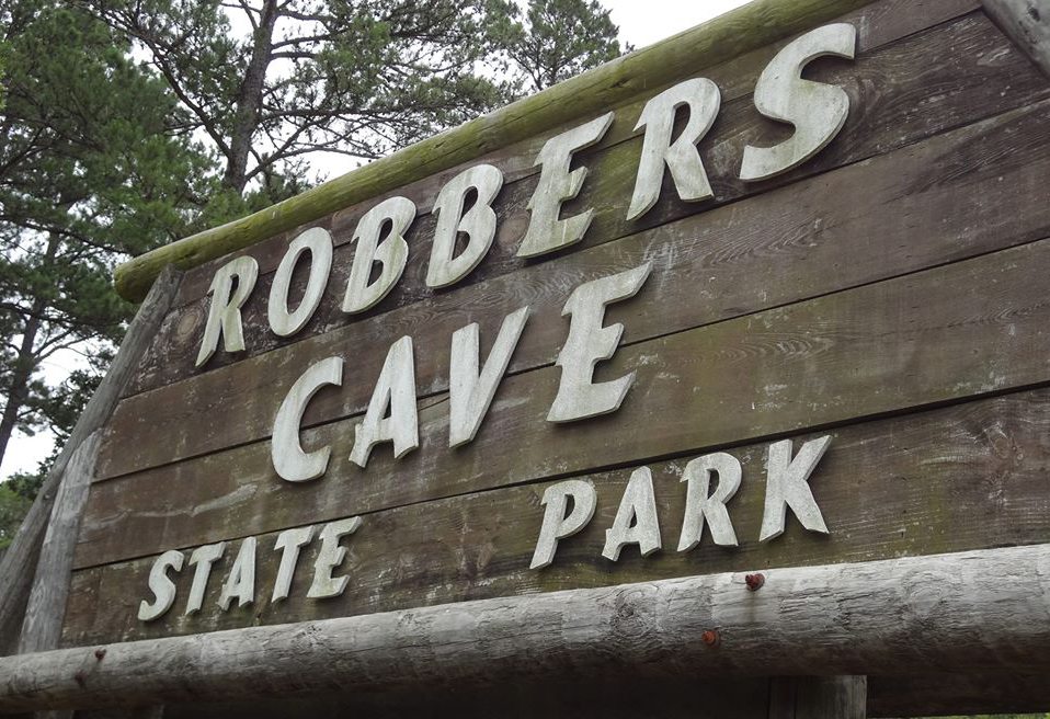 Robbers Cave sign