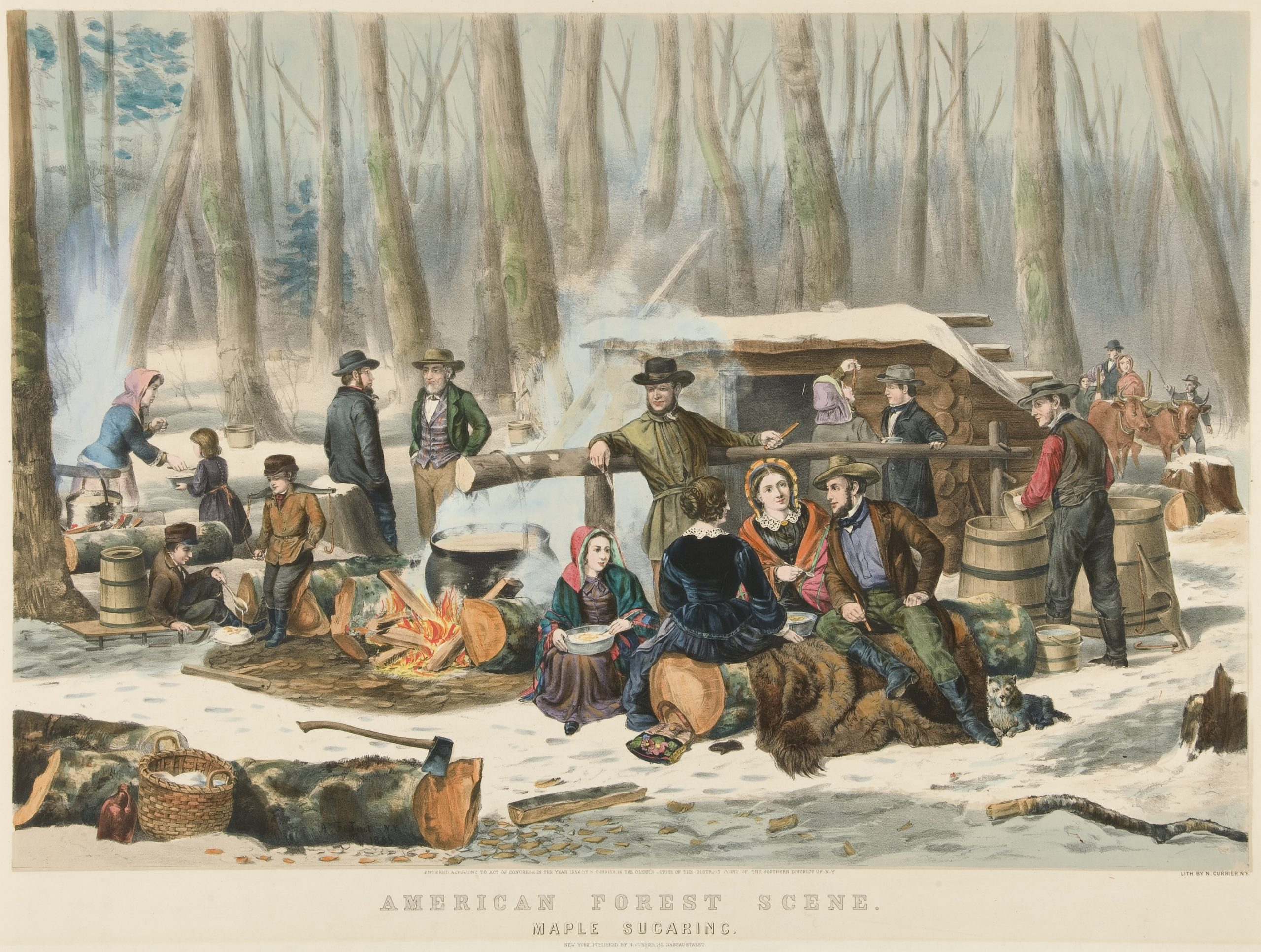Currier & Ives, Arthur Fitzwilliam Tait, American Forest Scene. Maple Sugaring