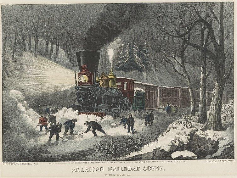 Currier & Ives American Railroad Scene: Snowbound