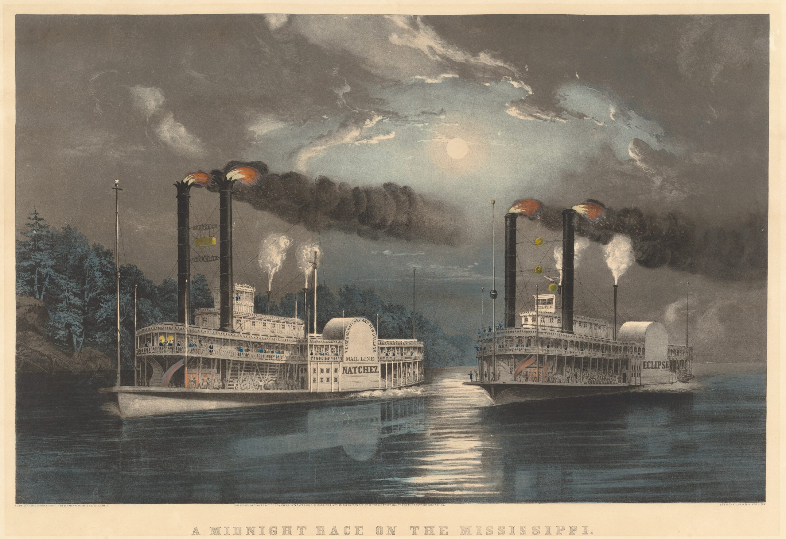 Currier & Ives, Midnight Race on the Mississippi