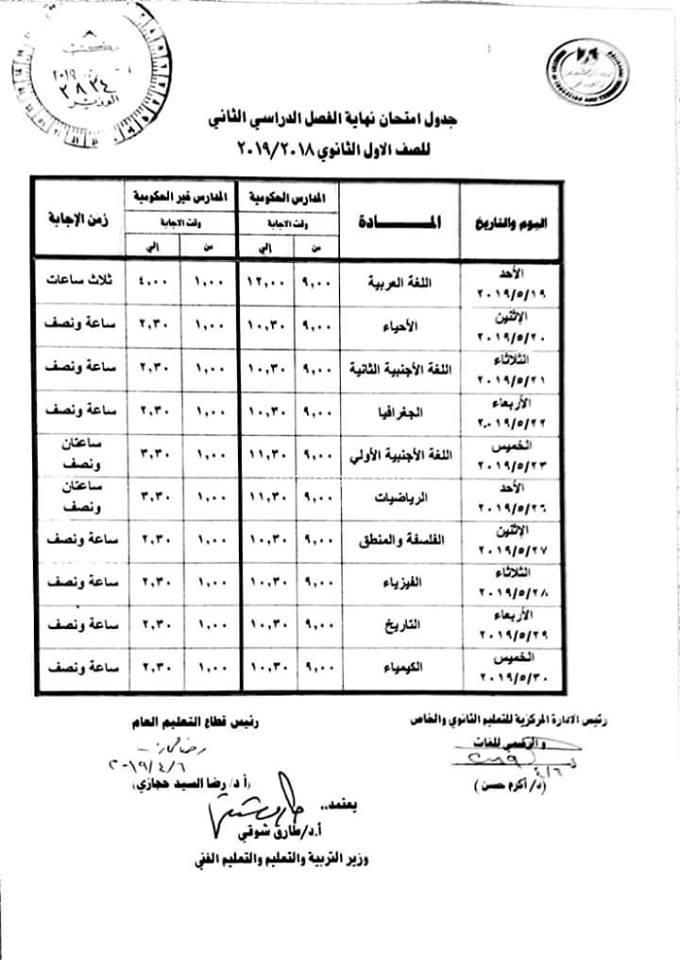 مواصفات امتحان مايو للصف الأول الثانوي