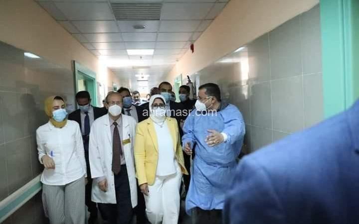وزيرة الصحة تطمئن على الحالة الصحية لمصابي حادث طوخ