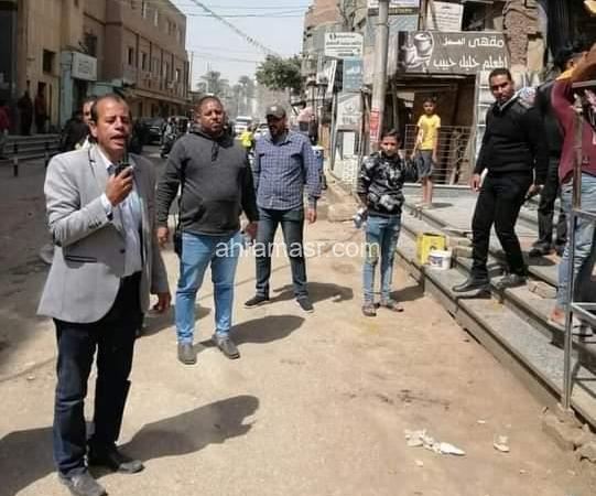 شنب والنقيب رمضان هاشم يقودان اكبر حملة لإزالة كافةإشغالات المدينة بالبدرشين بالجيزة