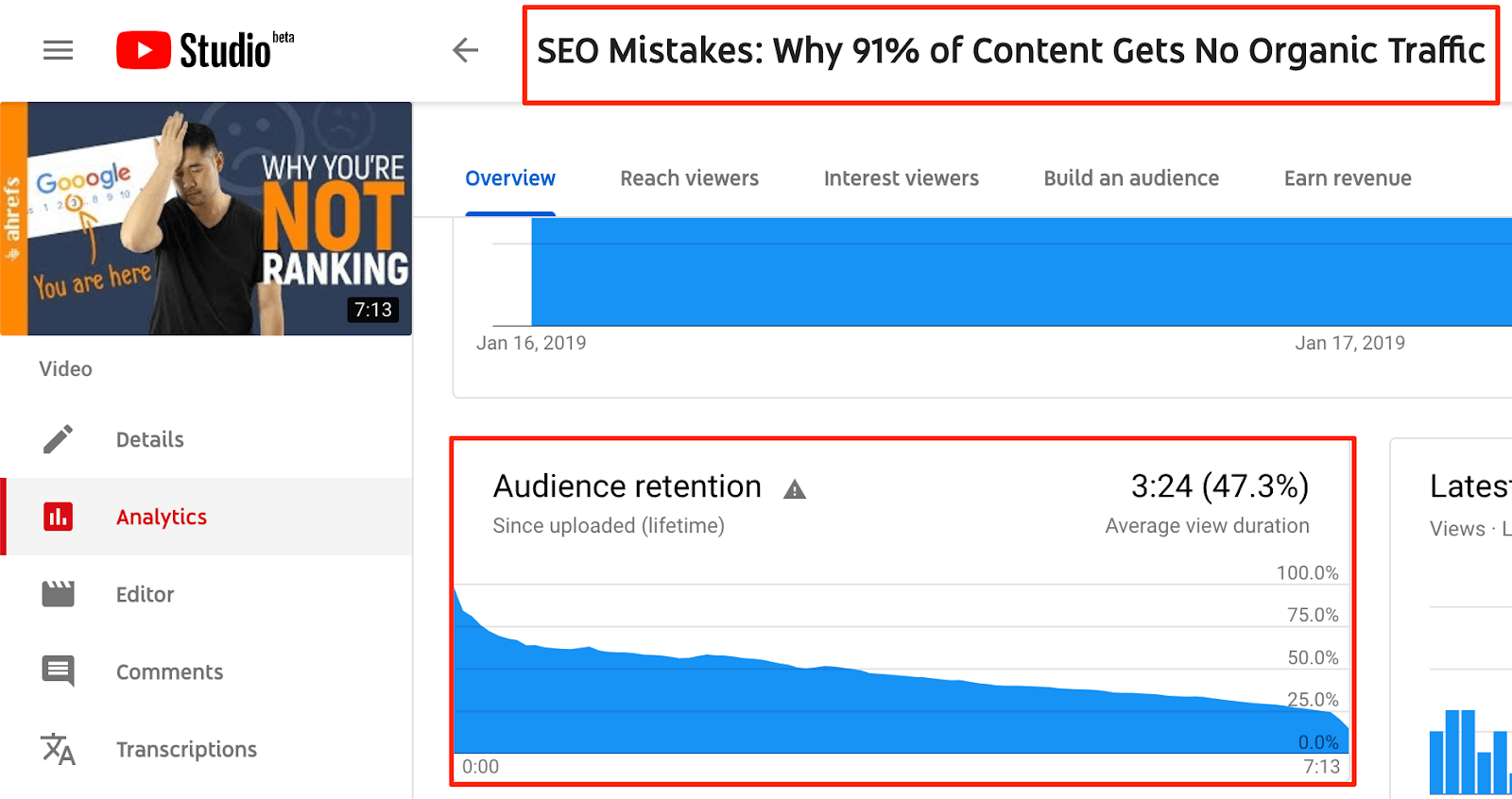 "youtube studio audience retention"" srcset=""https://i2.wp.com/ahrefs.com/blog/wp-content/uploads/2019/03/youtube-studio-audience-retention.png?ssl=1 1600w, https://ahrefs.com/blog/wp-content/uploads/2019/03/youtube-studio-audience-retention-768x406.png 768w, https://ahrefs.com/blog/wp-content/uploads/2019/03/youtube-studio-audience-retention-680x360.png 680w"" sizes=""(max-width: 1600px) 100vw, 1600px"