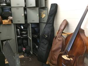 Inadequate instrument storage for music department.
