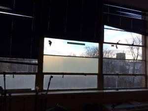 Original windows from 1960's building construction.