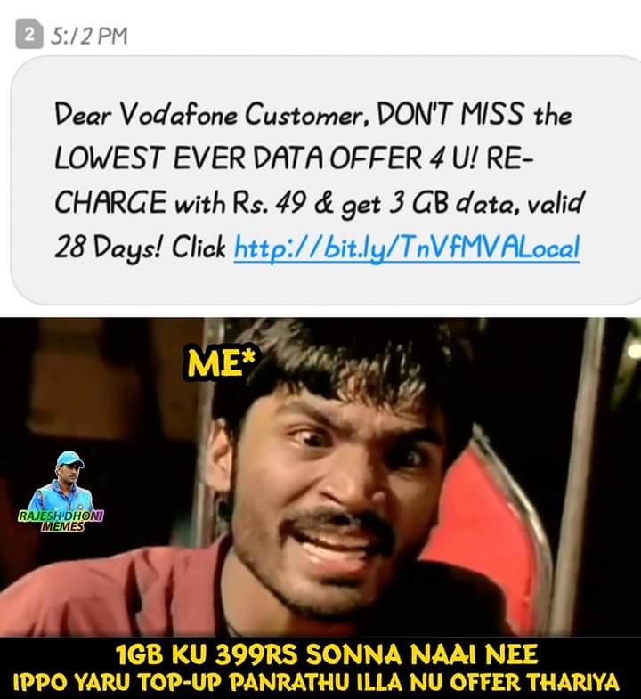 Vodafone Lowest Ever Data Offer Troll Meme Tamil Memes