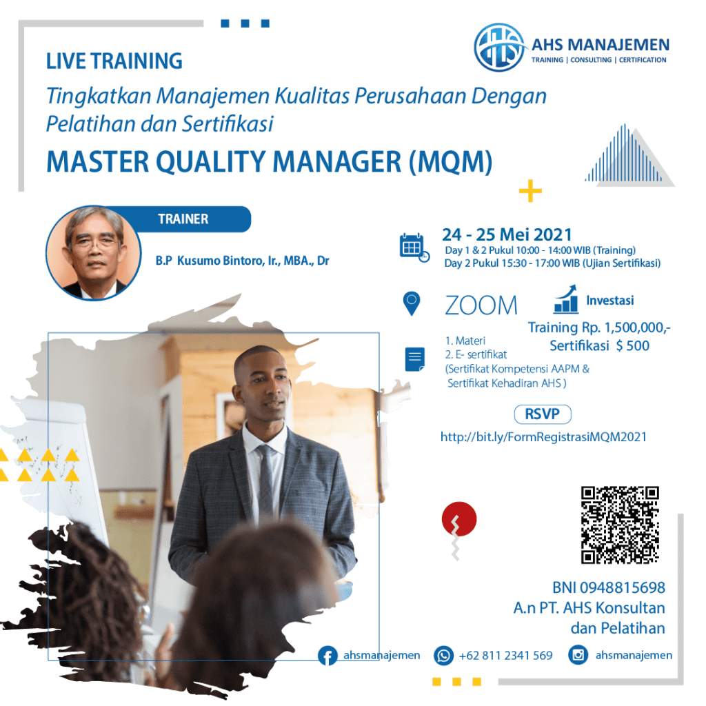 Master Quality Manager-MQM (24-25 Mei 2021)