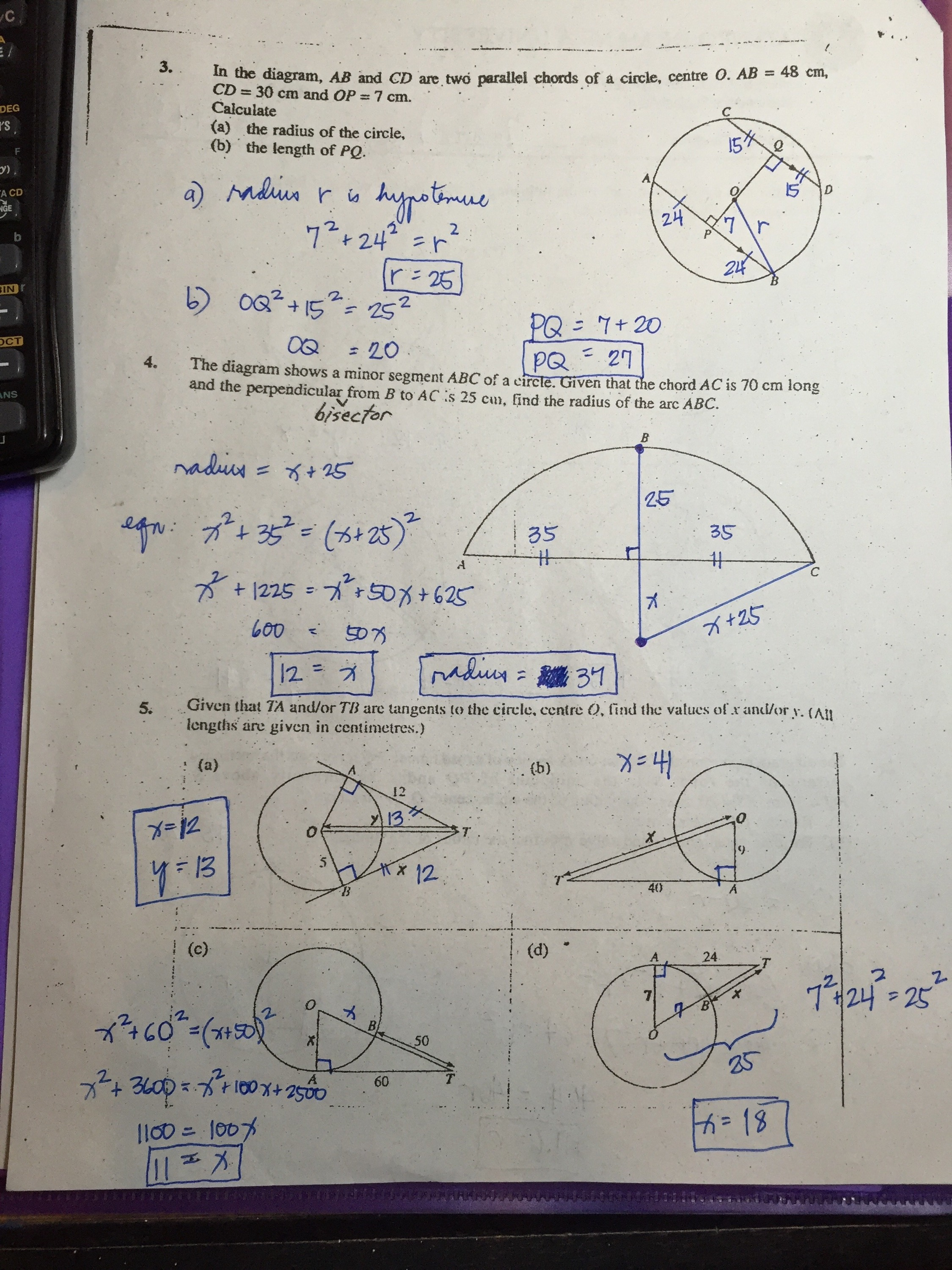 Grade 11 Circles Worksheets Answer Keys Ateneo High