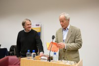 Prof. Tom Lodge, dean of the faculty of the faculty of arts (left), makes a presentation to Pulitzer Prizewinning novelist Richard Ford during his visit to the University of Limerick. Richard Ford, the Pulitzer Prizewinning novelist, gave a rare public reading at the University of Limerick yesterday evening. Invited and introduced by Professor Joseph O'Connor, UL's Frank McCourt Chair in Creative Writing, Ford read from his latest book, a quartet of overlapping stories, Let Me Be Frank With You and took questions from full-to-capacity audience of over 350 members of the public who took full advantage of the opportunity to quiz the world renowned best-selling author. The event was Mr Ford's first ever visit to Limerick and was co-sponsored by the University of Limerick Arts office and Limerick City and County Arts Office. Pic Sean Curtin Fusionshooters.