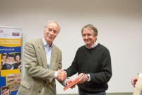 Prof. Tom Lodge, dean of the faculty of the faculty of arts (right), makes a presentation to Pulitzer Prizewinning novelist Richard Ford during his visit to the University of Limerick. Richard Ford, the Pulitzer Prizewinning novelist, gave a rare public reading at the University of Limerick yesterday evening. Invited and introduced by Professor Joseph O'Connor, UL's Frank McCourt Chair in Creative Writing, Ford read from his latest book, a quartet of overlapping stories, Let Me Be Frank With You and took questions from full-to-capacity audience of over 350 members of the public who took full advantage of the opportunity to quiz the world renowned best-selling author. The event was Mr Ford's first ever visit to Limerick and was co-sponsored by the University of Limerick Arts office and Limerick City and County Arts Office. Pic Sean Curtin Fusionshooters.