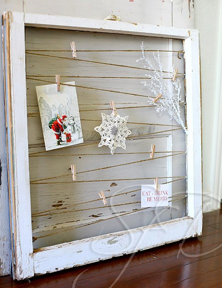 10 old window christmas card display from remodelaholic